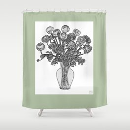 Spring Flowers in Vase on Silver Bubbles Background Shower Curtain