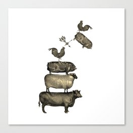 Farm Living - Stacked Animals Canvas Print