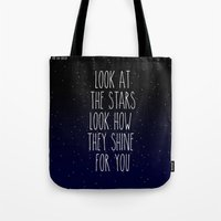 coldplay Tote Bags featuring Look How They Shine For You by Adel