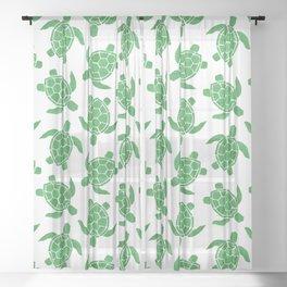 Sea Turtle in Green Sheer Curtain