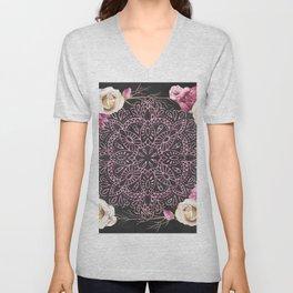 Mandala Night Rose Gold Garden Pink Black Yellow Unisex V-Neck
