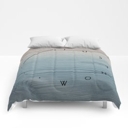 'Just now…' in weathered blue stain Comforters
