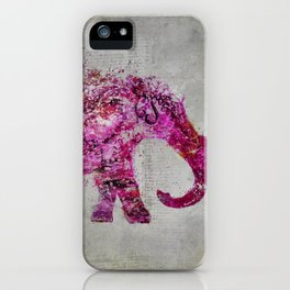 Elephant Art mixed media pink grey iPhone Case
