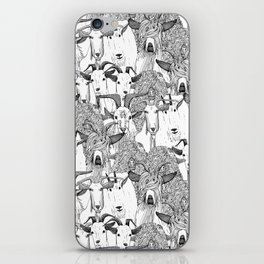 just goats black white iPhone Skin