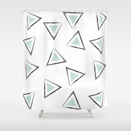 Mint Triangles Shower Curtain