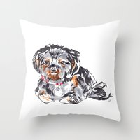 shih tzu Throw Pillows featuring Shih Tzu by bellandpixel