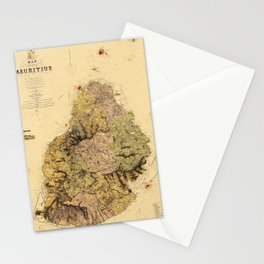 Map Of Mauritius 1880 Stationery Cards