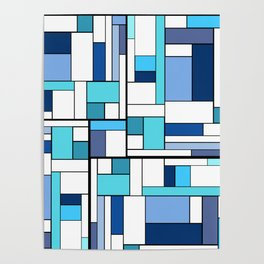 mondrianing in blue... Poster