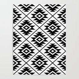 Aztec Symbol Pattern Black on White Poster