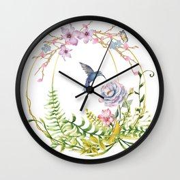 Glittering Golden Floral Hummingbird Terrarium Wall Clock