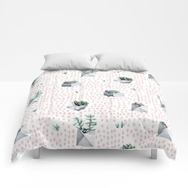 Potted Succulents Pink Polka Dots Comforters