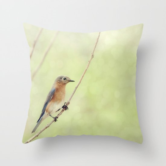 Perched On A Frail Branch Throw Pillow