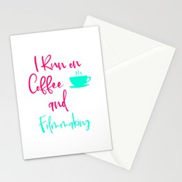 I Run on Coffee and Filmmaking Filmmaker Production Quote Stationery Cards