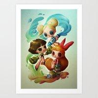 powerpuff girls Art Prints featuring Powerpuff Girls (re-imagined) by Marija Tiurina