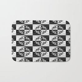 Swimming Glyphs and Sunflowers: Checkered Version Bath Mat