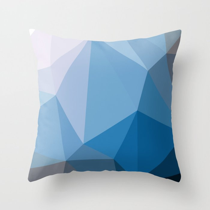 Shades Of Blue Triangle Abstract Throw Pillow