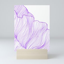 Sea waves line illustration Purple Modern Minimalist drawing. Mini Art Print