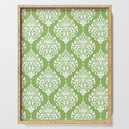 Green Damask Serving Tray