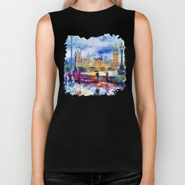 London Rain watercolor Biker Tank