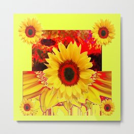 RED & YELLOW SUNFLOWERS MODERN ABSTRACT Metal Print