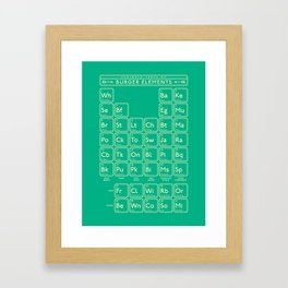 Periodic Table of Burger Elements - Green Framed Art Print