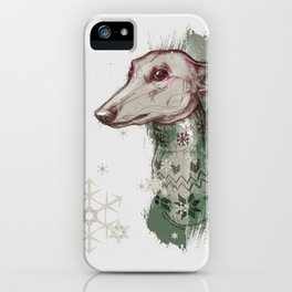 Christmas greyhound I -illustrious dogs iPhone Case