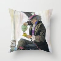 mad hatter Throw Pillows featuring Mad Hatter by Oliver Dominguez