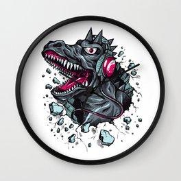 Arsenic Druck Dino with Headphones Wall Clock