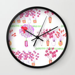 Garden of Pink Potted Flowers Wall Clock