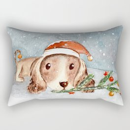 Christmas Puppy Look Rectangular Pillow