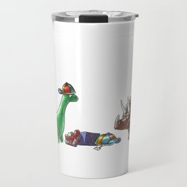 Never give a cap to a triceratop! Travel Mug