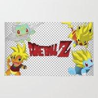 dragon ball z Area & Throw Rugs featuring Poke-Ball Z by Arqhfredo