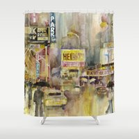 broadway Shower Curtains featuring Broadway,  New York by Dorrie Rifkin Watercolors