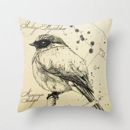 Indigo Flycatcher Throw Pillow