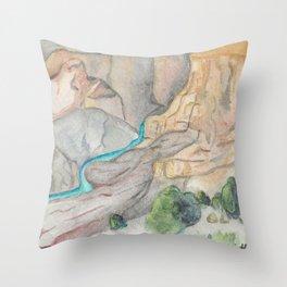 Grand Canyon Watchtower- Arizona- National Park-Watercolor Illustration Throw Pillow