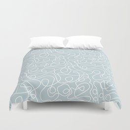 Doodle Line Art | White Lines on Silvery Blue Duvet Cover