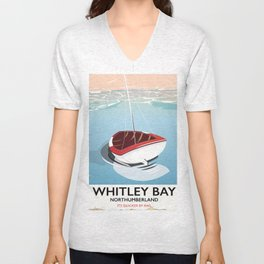 Northumberland Whitley Bay travel poster Unisex V-Neck