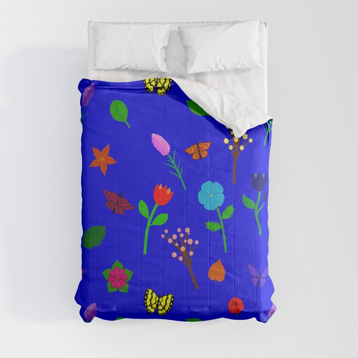 Scattered Flowers and Butterflies, blue background Comforters