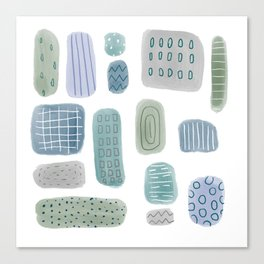 Abstract Pebbles blue green Canvas Print