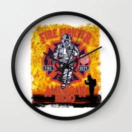 Fire Fighter - American Hero Wall Clock