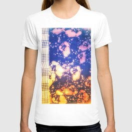 Floral splashes and checkered pattern T-shirt