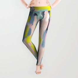 Abstract Brush Stroke Art in Modern Color Palette Leggings