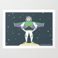 buzz lightyear Art Prints featuring Buzz Lightyear Celebration Illustration by A Strange One