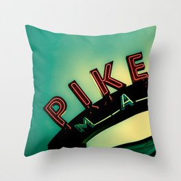 Pike Place Market at Dawn Throw Pillow