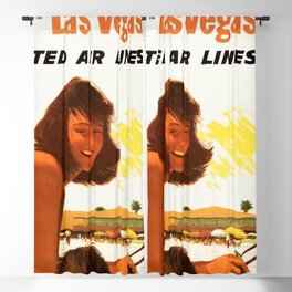 """Vintage Las Vegas United Air Lines Travel Poster """"Day Time Sun Night Time Fun"""" Blackout Curtain"""