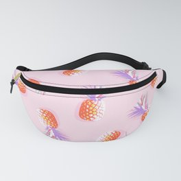 Tropical Pineapple Party Pattern - Coral and lavender on Pink Fanny Pack