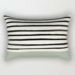 Sage Green x Stripes Rectangular Pillow