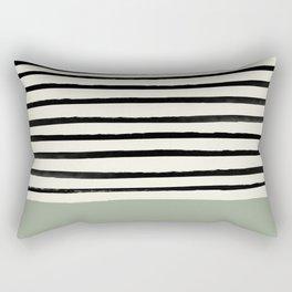 Sage Green x Stripes Rectangular Pillow