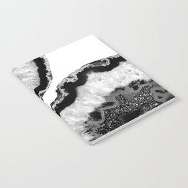Gray Black White Agate Glitter Glamor #2 #gem #decor #art #society6 Notebook