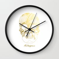 gold foil Wall Clocks featuring Gold Foil Patterned Skull by RsDesigns